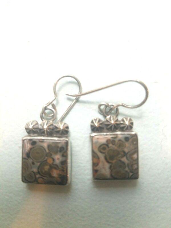 New Condition, Vintage sterling silver/jasper earrings, Aaron Toadlena, Navajo