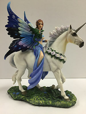 h Pixie Glare Pewter Fairy Figurine Collectible Statue Fairy on a Unicorn 2.5 Purple Wings