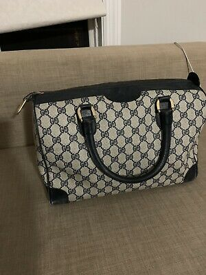 Vintage Gucci Boston Navy Canvas Leather Hand Bag
