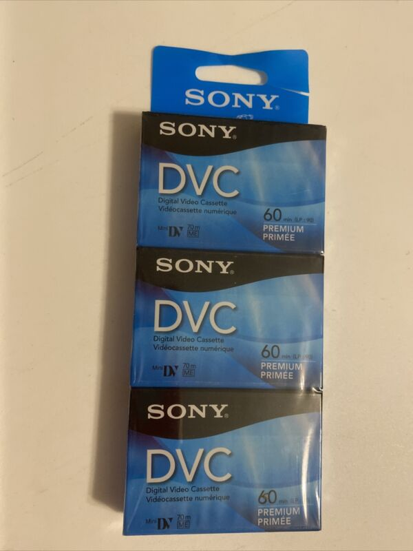Sony DVC Mini-DV 60 3-Pack Blank Tapes Digital Video Cassettes New Sealed