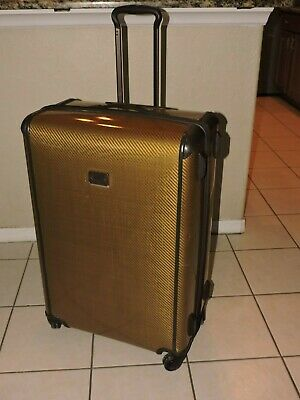 "Preowned Tumi Max Large Trip 29"" Brown weaved design Suitcase  MSRP $895"