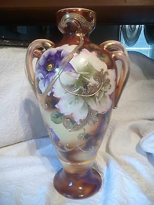 """Stunning Large Antique Nippon Floral Raised/Textured Vase 15"""" x 8"""" Double Handle"""