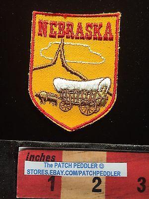 Vintage Nebraska COVERED WAGON Tourist Jacket Patch C632