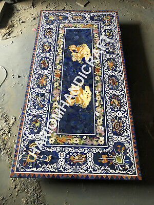 8'x4' Marble Dining Table Top Lapis Marquetry Floral Inlay Home Decorative E947B