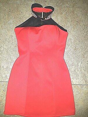 Stretch kurz Kleid rot Neckholder Netz schwarz Rüschen Strasssteine Gr. M TOP Rotes Neckholder Top Kleider