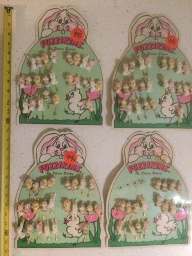 Vintage Fuzzikins Store Display Lot of 4 - 87 Stick/Button Pins Pinbacks - Rare!