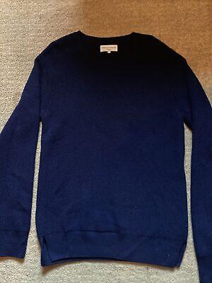 OFFICINE GENERALE PARIS MERINO Wool CREWNECK Thick Knit SWEATER Navy Size XL