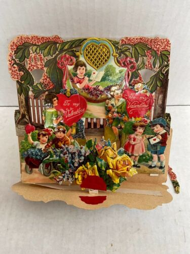 Vintage Valentine Card To My Sweetheart Victorian Fold Down Pop Out 3D Germany