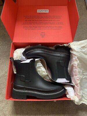 Hunter Women's Refined Stitch Detail Chelsea Boots In Black Size 5 BNIB...