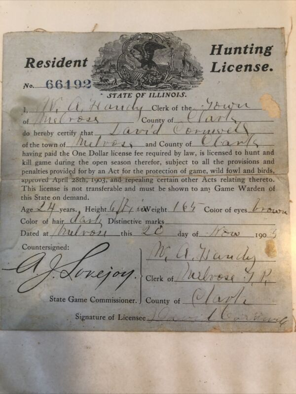 vintage illinois 1903 hunting license the first year illinois issued hunting lic