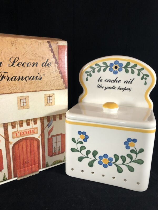 "La Lecon Francais French Words Wall Mount Garlic Keeper Marsten Mandrajji 9"""