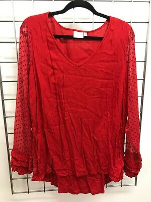 Junarose Red Blouse Top with Sheer Polka Dot Arms (Size 16)