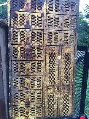 Vtg Mesh Locker Pod 12 Doors Total Yellow Rusty