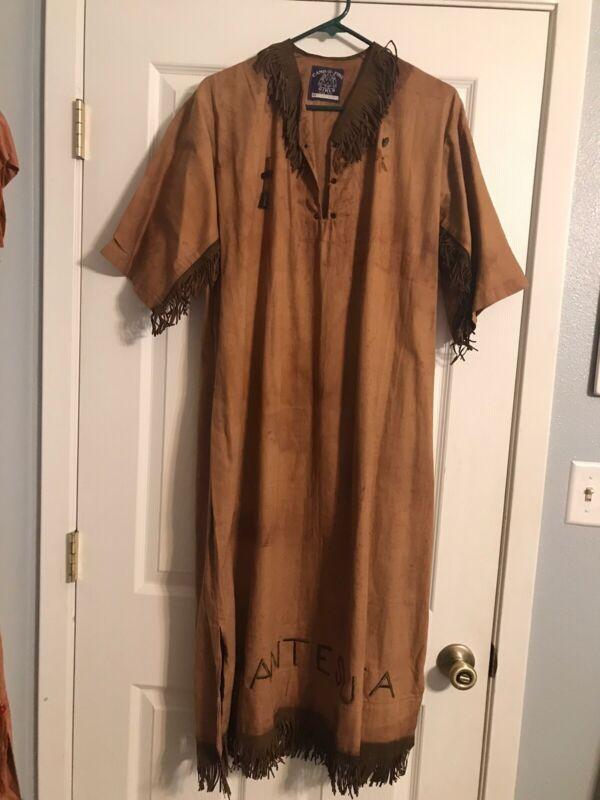 "Vintage 60's Camp Fire Girls Ceremonial Dress W/ Leather Fringe ""CHANTESUTO"""