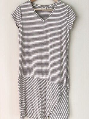 Chicos Maddison Natural Beige Short Sleeve Striped Shift Dress Women 0 Small - Natural Beige Stripes