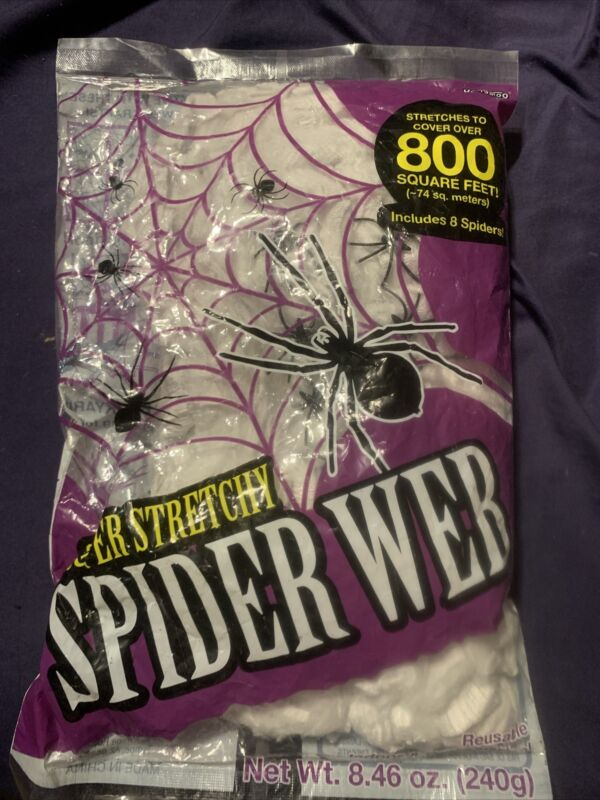 800 Square Feet Halloween Super Stretchy Spider Web & 8 Plastic Spiders NEW