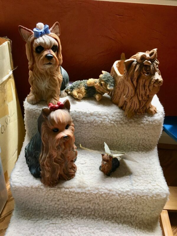 Yorkie Statue Collection 2 Resin figurines, wine bottle holder, treat jar, etc.