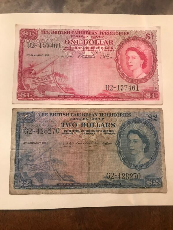 British Carribean Territorie $1 1957 & $2 1956 Currency Notes