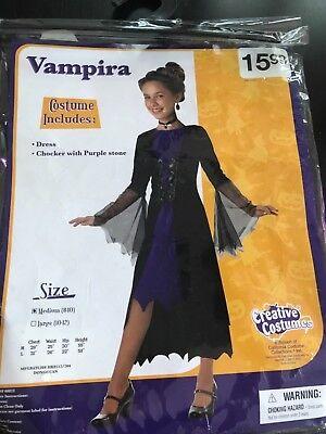 Gothic Vampiress Vampire Vampira Costume Halloween Party Dress Up Medium 8-10