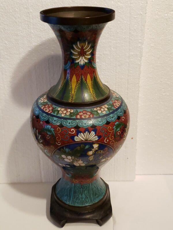 """Japanese CLOISONNE Enamel on Bronze  13"""" Vase Meiji Period  FLOWERS BUTTERFLIES"""