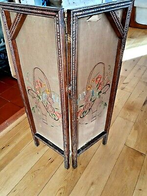 Small Victorian Needlepoint Embroidered Screen