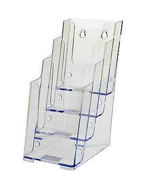 Clear Acrylic 4 Pocket Tiered 4w Brochure Holder Wall Or Counter Lot Of 6