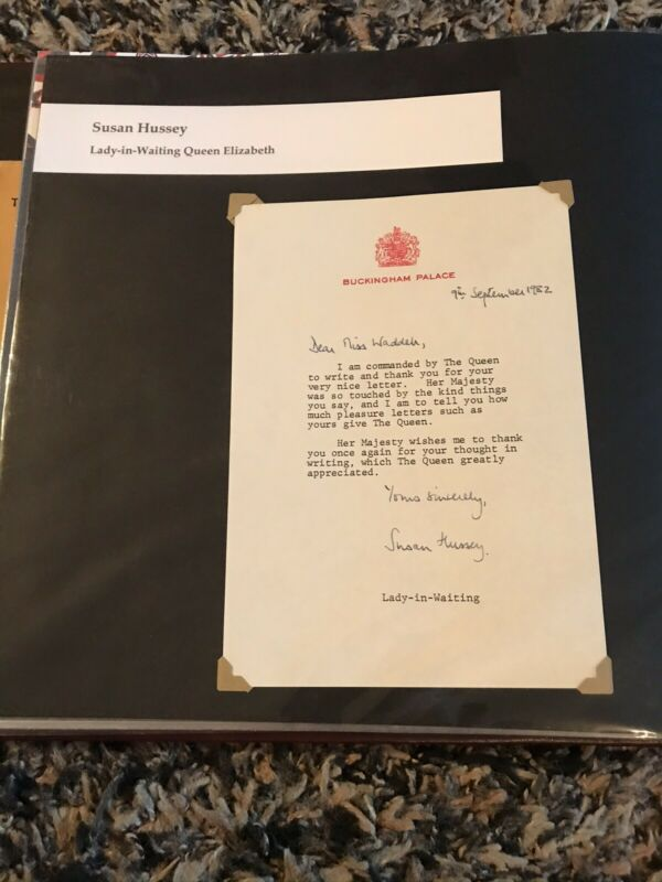 1983 Queen Elizabeth Lady in Waiting Baroness Susan Hussey Signed Letter