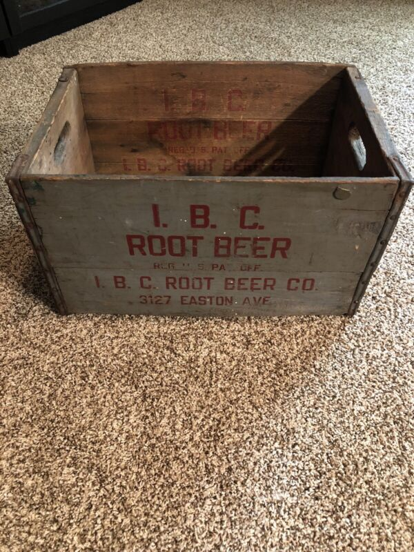 Rustic Vintage IBC ROOT BEER Wooden Box Crate Home Decor St. Louis Missouri 1946