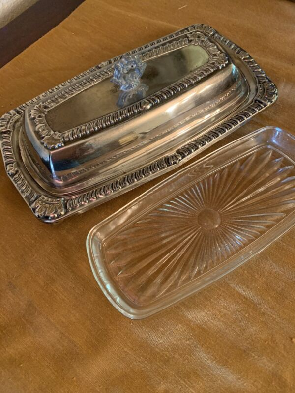 VTG Silverplate by Herald 3 pc Butter Dish Tray Cover and Glass Insert