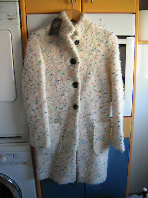 Abrigo blanco y multicolor talla M