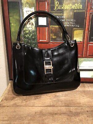 Vintage Gucci Black Patent Leather Handbag Purse Great condition