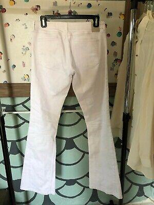 Zara Womens Sz 6 Denim Low Rise White Ripped Knee Flare Bell Bottom Jeans