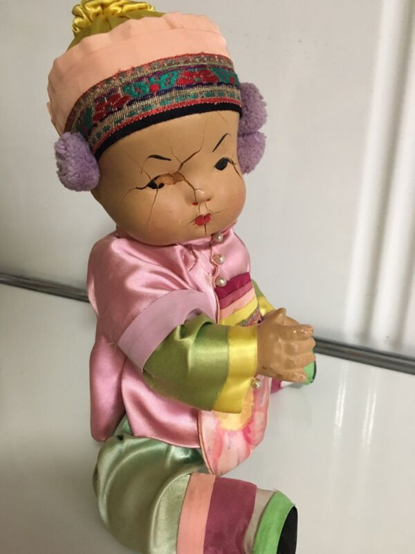 Antique  Vintage 1930 Chinese/Asian Baby Boy Doll Composition? Silk Clothing