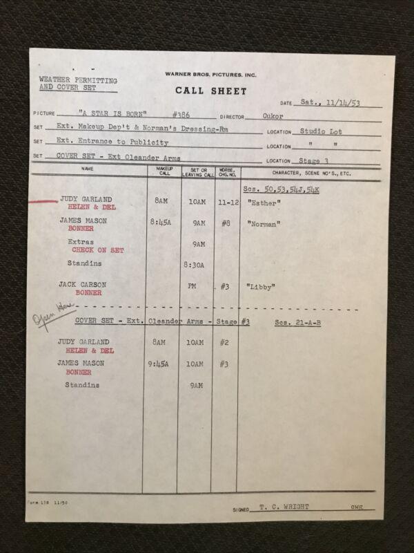 A Star Is Born   - Original 1953   Warner Brother Call Sheet -  Judy Garland