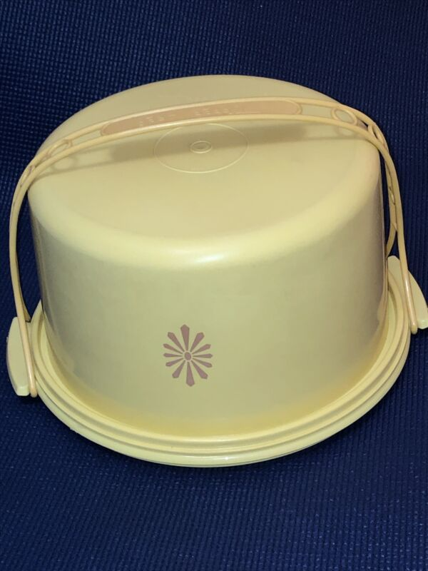 Vintage Tupperware Cake Taker Keeper Carrier With Handle 684 Yellow