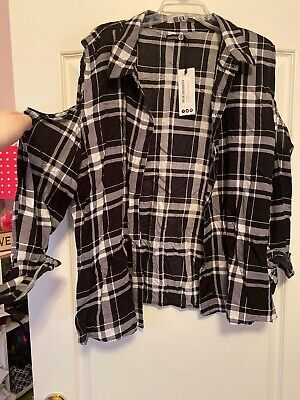 Boohoo Plus Size 20 Black And White Cold Shoulder  Flannel