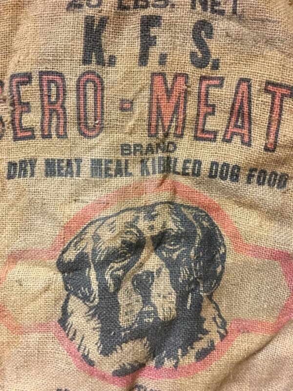 Rare Vintage Antique Feedsack Feed Bag Dog Food Kennel Food