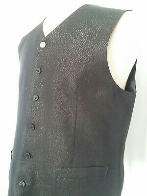 Authentic VERSACE CLASSIC V2 Shiny Black Tuxedo Cocktail Vest Sz 50 IT / 40 US L
