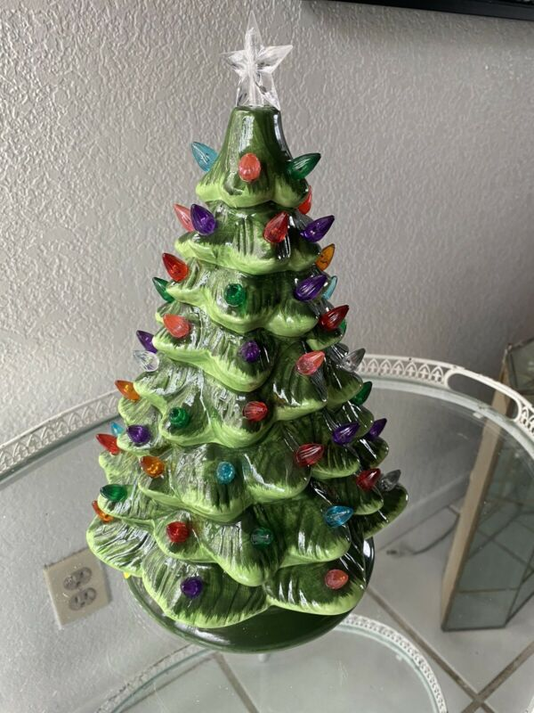 Porcelain LED Christmas Tree Battery Operated Gift 13 Inches Tall W/ All Bulbs