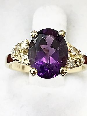 14k Solid yellow gold  Natural Diamond and Oval  Amethyst ring Cocktail 1.40 ct