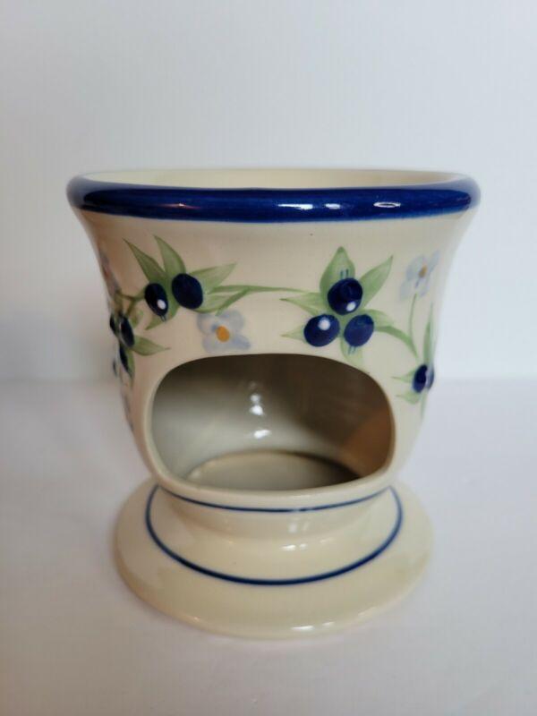 Yankee Candle Tealight Wax Melt Ceramic Tart Warmer Blueberries Flowers Leaves