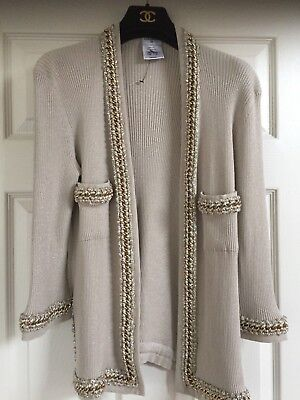 CHANEL 10P MOST WANTED NEW Beige METALLIC GOLD Jacket with GOLD CHAIN CC FR40-46