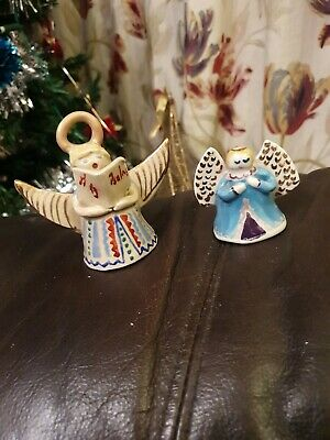 Vintage Christmas pos salt glaze singing Angels X 2 Hanging Decoration