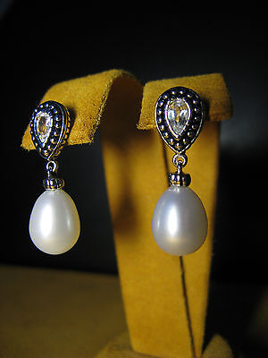(HONORA PEARL WHITE TOPAZ EARRINGS DROP SILVER TOP LUSTER GIFT Christmas New Year)