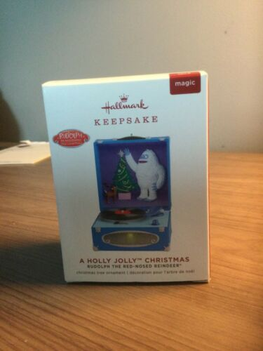 2019 Hallmark A Holly Jolly Christmas Rudolph Red Nosed Reindeer Record Player M