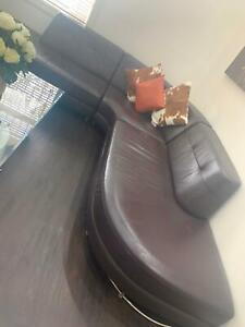 PRICE DROP Brown leather L shaped Couch