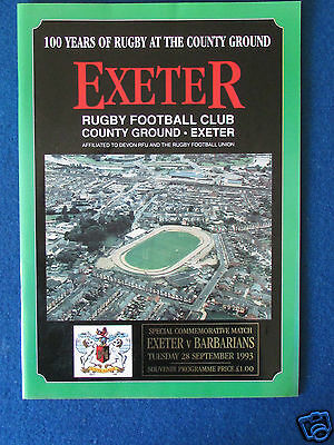 Exeter v Barbarians - 28/9/1993 - Centenary Commemorative Match Programme