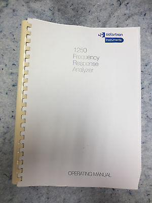 C1994 Solartronschlumberger 1250 Frequency Response Analyser Operating Manual