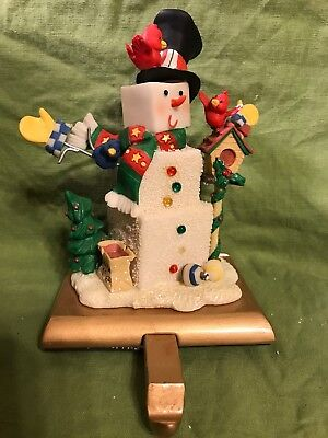 Snowman Christmas Stocking Hanger Holder Cast Iron Base Adjustable Pullout Hook