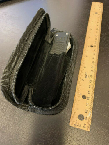 "Black Leather Knife Zipper Case Pouch Fits Up to 5.75"" Folding Knife-L-P"